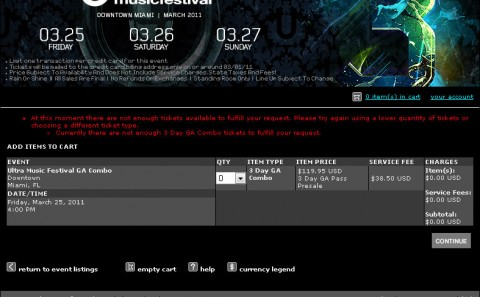 Ultra 2010 Early Bird Tickets Soldout